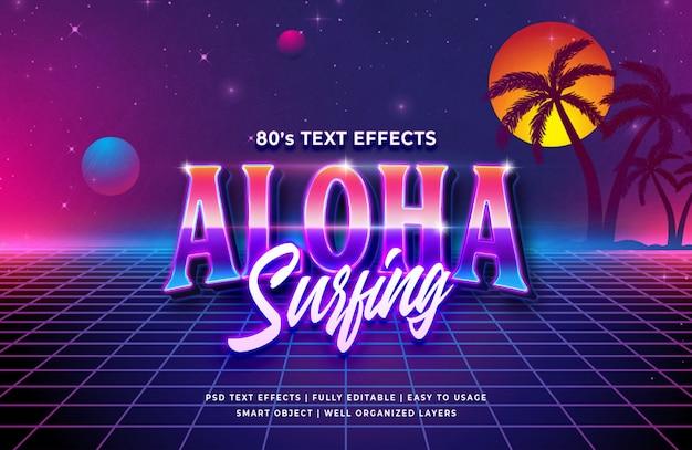 Aloha surfando o efeito de texto retrô dos anos 80 Psd Premium
