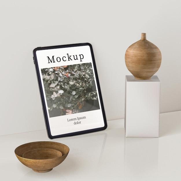 Alto ângulo de exibição de vaso e bacias de madeira Psd grátis