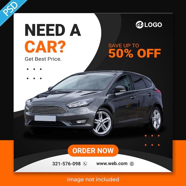 Aluguel de carros para mídias sociais instagram post banner template premium Psd Premium