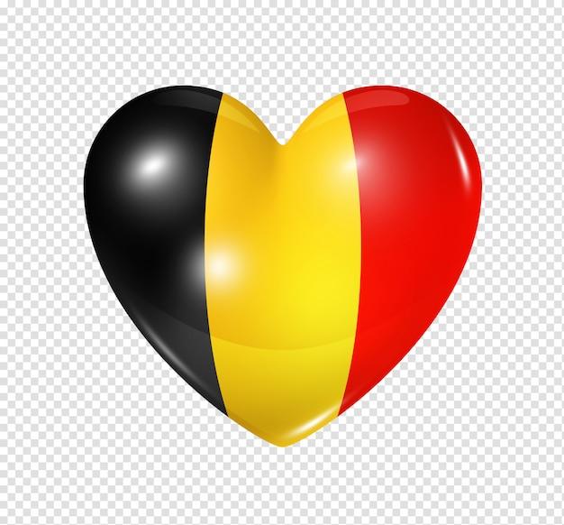 Amo a bélgica, ícone de bandeira do coração Psd Premium