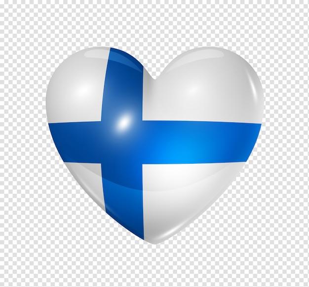 Amo a finlândia, ícone de bandeira do coração Psd Premium