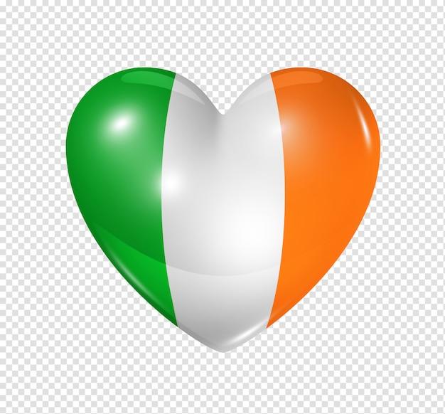 Amo a irlanda, ícone de bandeira do coração Psd Premium