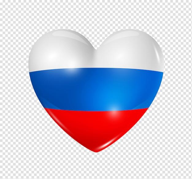Amo a rússia, ícone de bandeira do coração Psd Premium