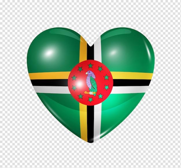 Amo dominica, ícone de bandeira do coração Psd Premium