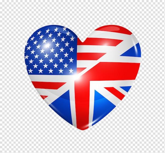 Amo os eua e o reino unido, símbolo 3d ícone de bandeira de coração isolado no branco com traçado de recorte Psd Premium