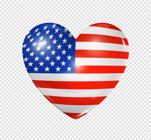 Amor eua, ícone de bandeira do coração Psd Premium
