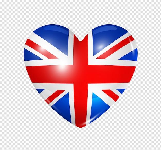 Amor reino unido, ícone de bandeira do coração Psd Premium
