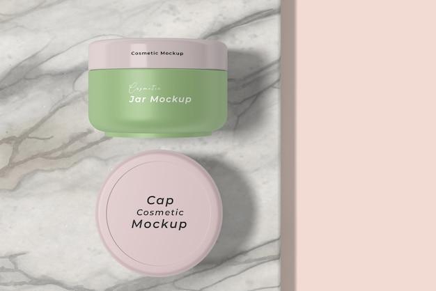 Ângulo de visão superior do creme cosmético para cuidados com a pele Psd Premium
