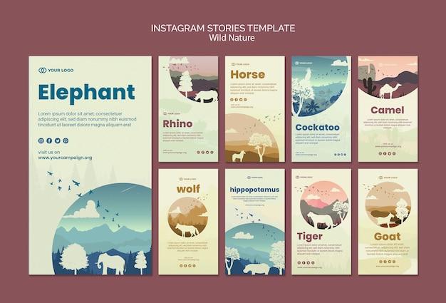 Animais selvagens na natureza instagram stories Psd grátis