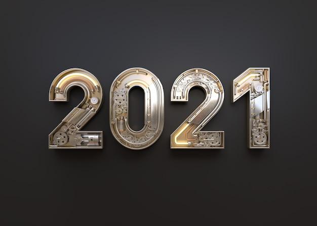Ano novo 2020 feito de alfabeto mecânico Psd Premium