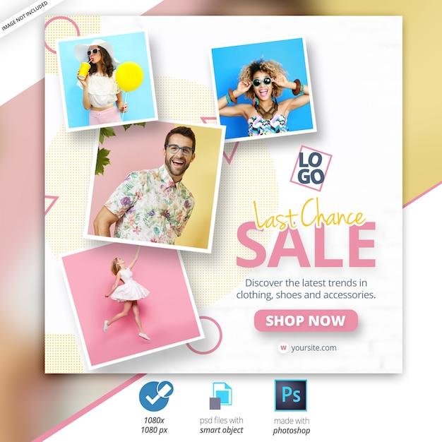 Anúncio de banner na web de mídia social de venda Psd Premium