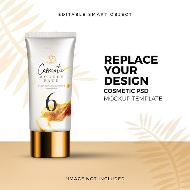 Anúncio de maquete de pacote de cosméticos orgânicos Psd Premium