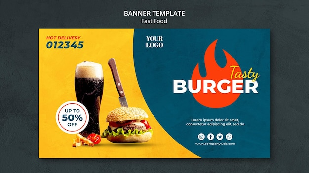 Anúncio modelo de banner fast food Psd Premium