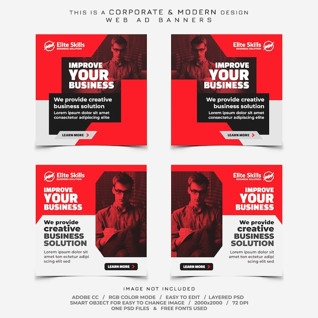 Anúncios de banners de empresas Psd Premium