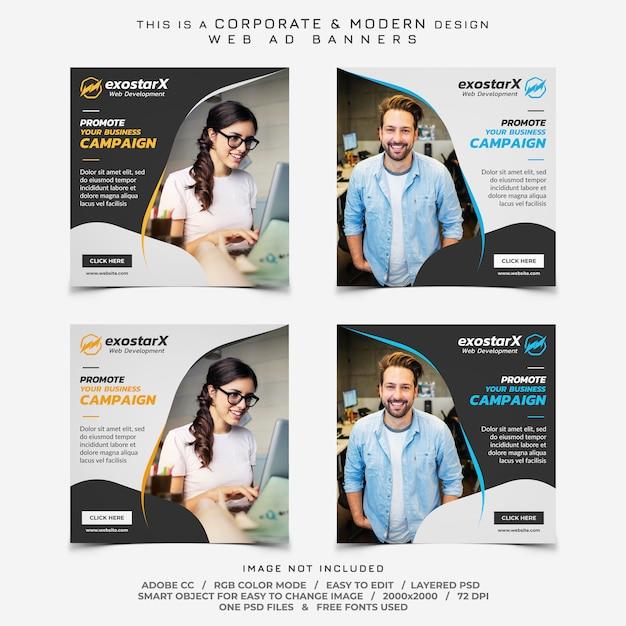 Anúncios de banners de negócios de desenvolvimento web Psd Premium