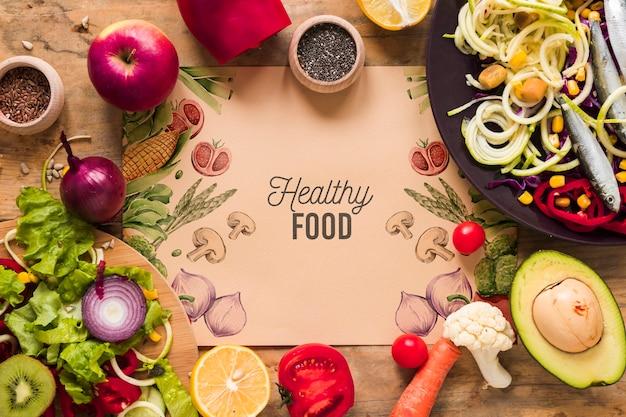 Apartamento leigos de comida saudável com maquete de cartão Psd grátis