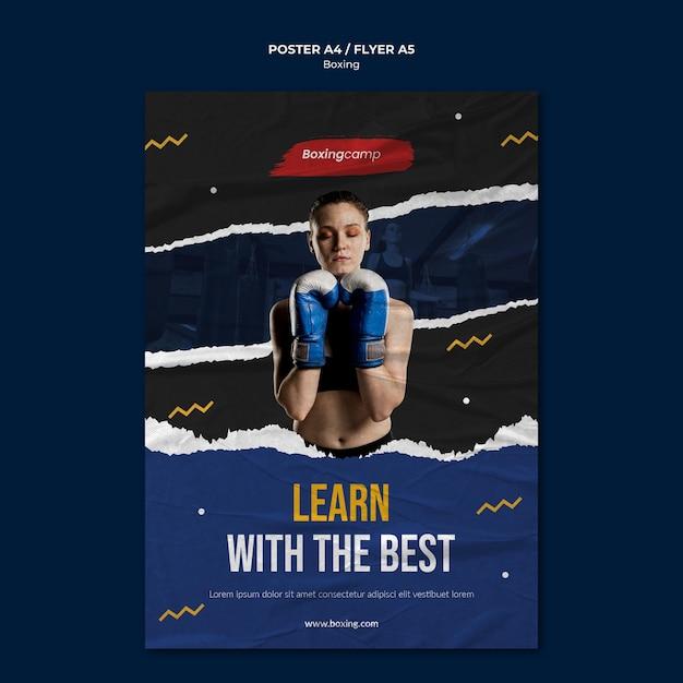 Aprenda modelo de folheto de boxe Psd grátis