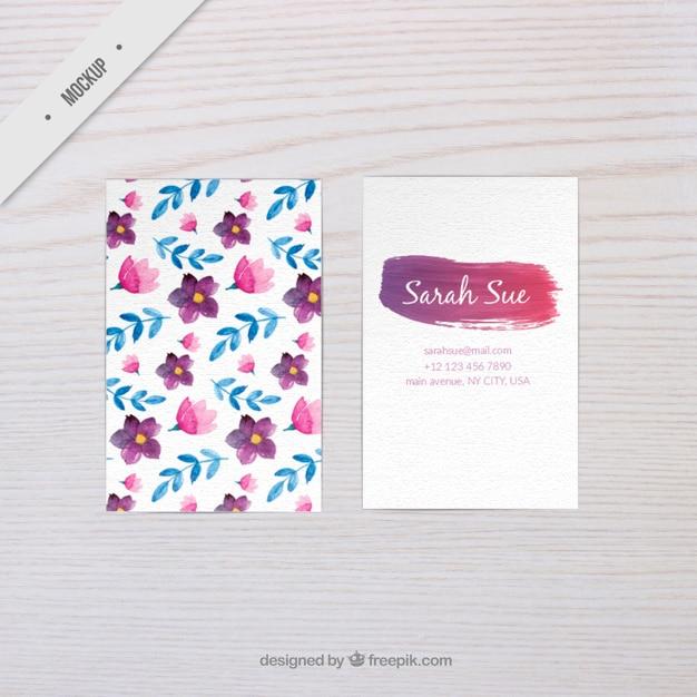 Aquarela maquete de cartão floral Psd grátis