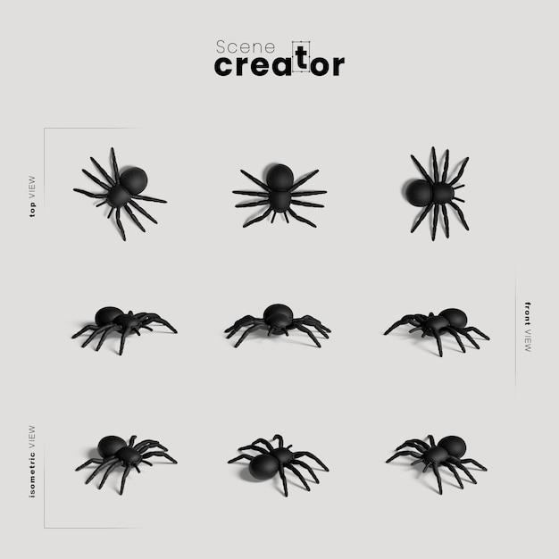 Aranha variedade de ângulos criador de cena de halloween Psd grátis
