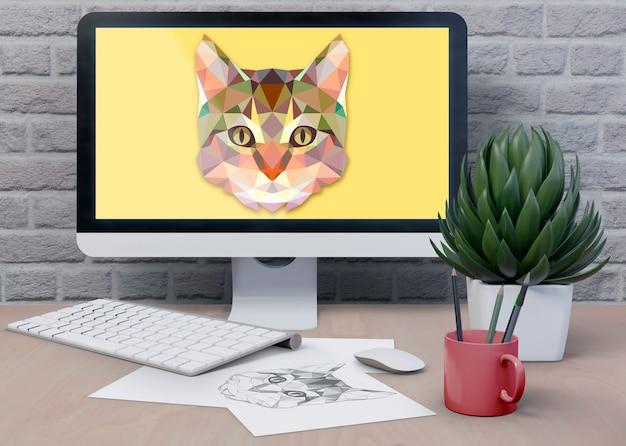 Área de trabalho com monitor digital Psd grátis