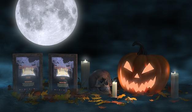 Arranjo assustador de halloween com cartazes de filmes e abóbora assustadora Psd grátis