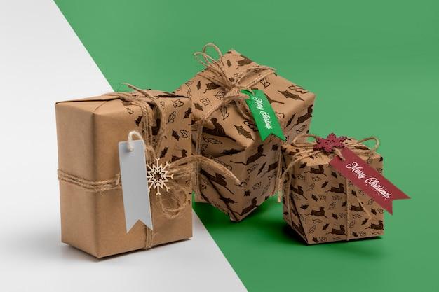 Arranjo de caixas de presente de natal Psd grátis