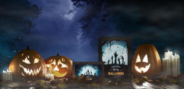 Arranjo de halloween com abóboras assustadoras e cartazes de terror emoldurados Psd grátis