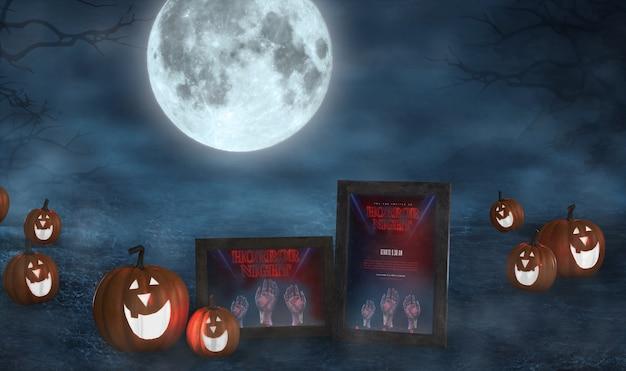 Arranjo de halloween com abóboras sorridente e maquete de cartazes de filmes Psd grátis
