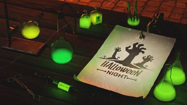 Arranjo de halloween de alto ângulo com luz verde Psd grátis