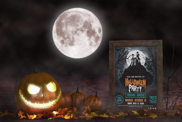 Arranjo de temporada de halloween com mock-up de cartaz de filme de terror Psd grátis