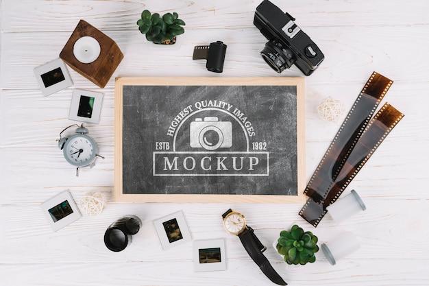 Arranjo do conceito de fotografia de vista superior Psd Premium