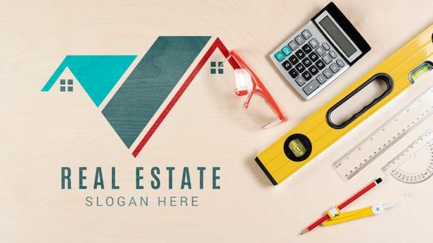 Artigos de papelaria com logotipo imobiliário Psd grátis