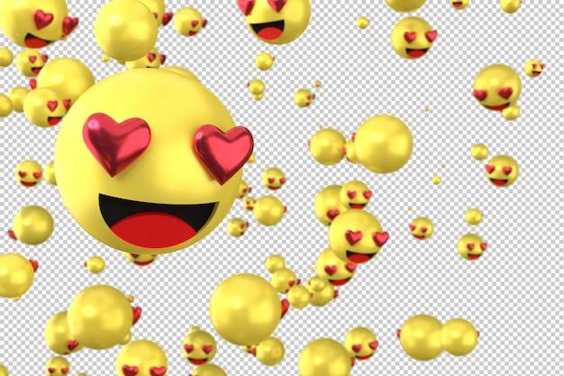 As reações do facebook amam emoji 3d render em fundo transparente, símbolo de balão de mídia social com coração Psd Premium