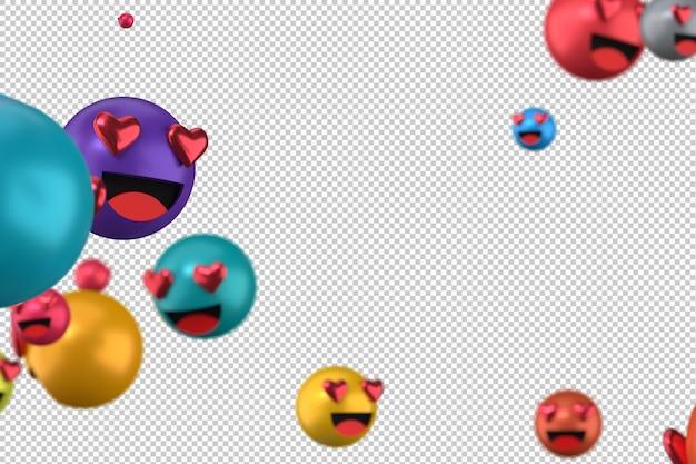 As reações do facebook amam emoji 3d render em transparente, símbolo de balão de mídia social com coração Psd Premium