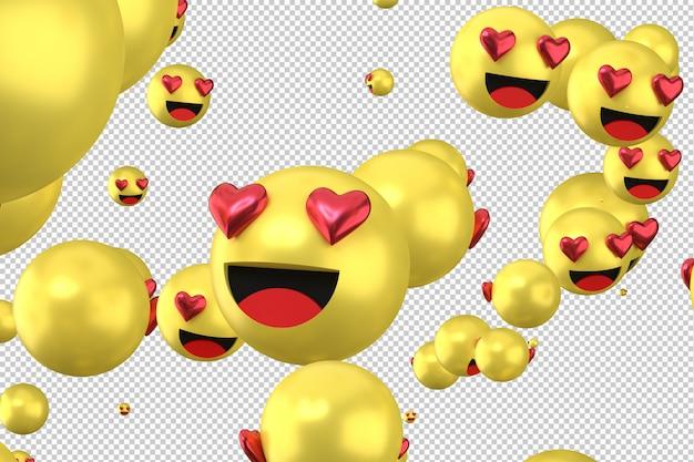 As reações do facebook amam emoji 3d render símbolo de balão de mídia social com coração Psd Premium