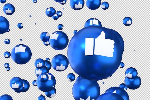 As reações do facebook como emoji 3d render símbolo de balão de mídia social com como Psd Premium