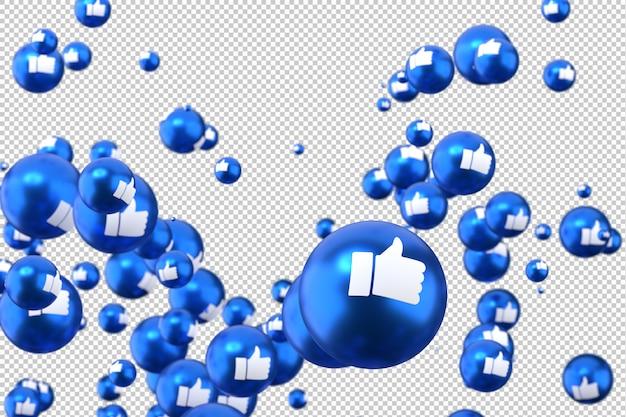 As reações do facebook como emoji renderização em 3d, símbolo de balão de mídia social com Psd Premium