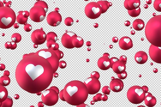 As reações do facebook coração emoji 3d render em fundo transparente, símbolo de balão de mídia social com coração Psd Premium