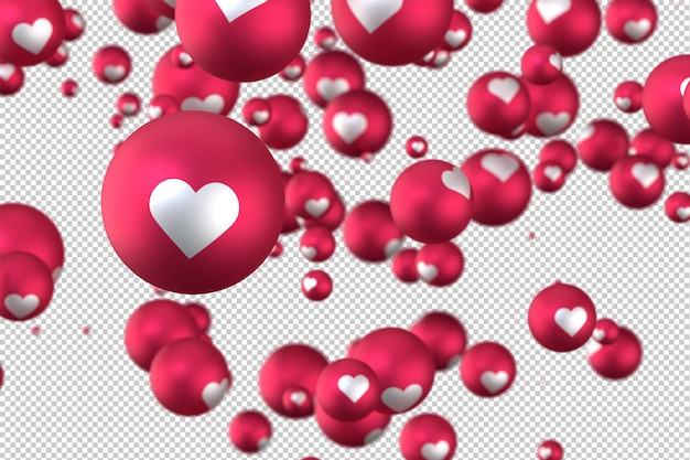 As reações do facebook coração emoji 3d render no símbolo de balão transparente, mídias sociais com coração Psd Premium