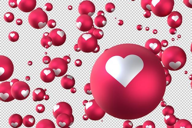 As reações do facebook coração emoji 3d render símbolo de balão de mídia social com coração Psd Premium