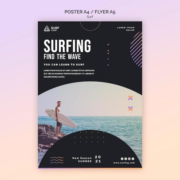 Aulas de surf imprimir modelo com foto Psd Premium