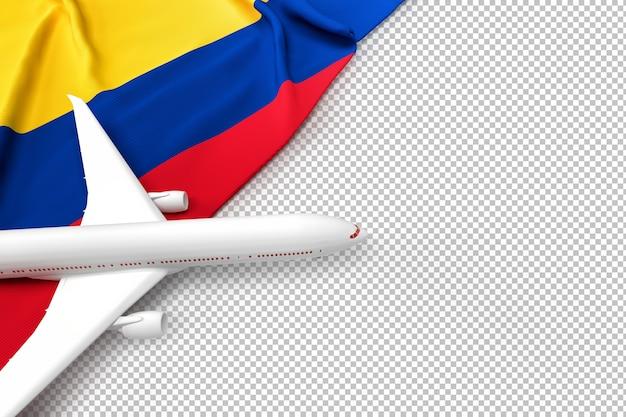 Avião de passageiros e bandeira da colômbia Psd Premium