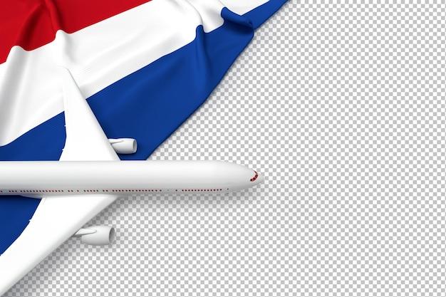 Avião de passageiros e bandeira da holanda Psd Premium