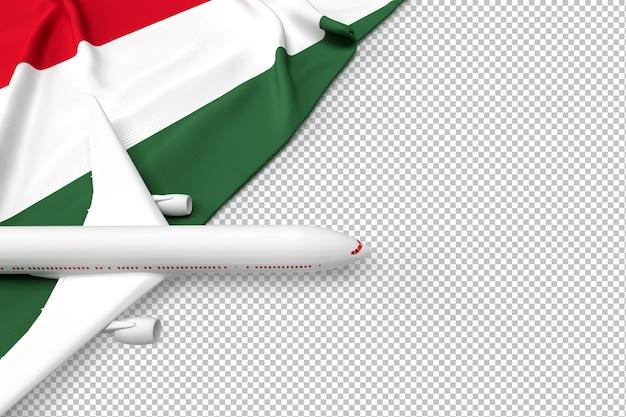 Avião de passageiros e bandeira da hungria Psd Premium
