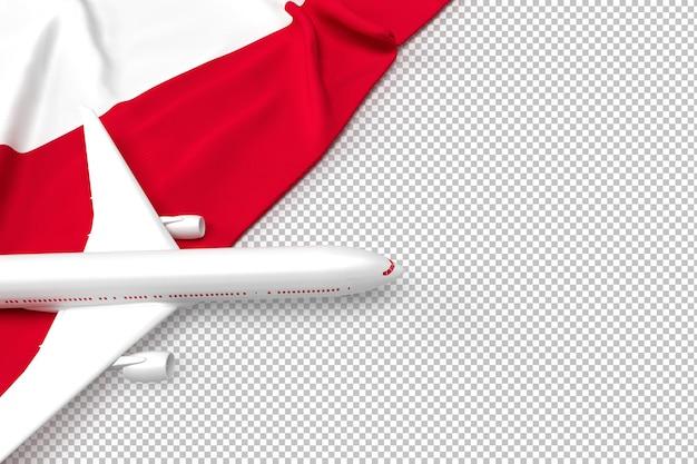 Avião de passageiros e bandeira da polônia Psd Premium