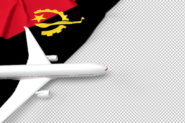 Avião de passageiros e bandeira de angola Psd Premium