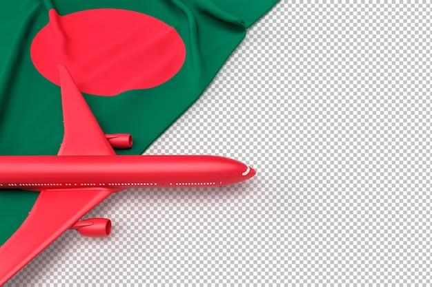 Avião de passageiros e bandeira de bangladesh Psd Premium