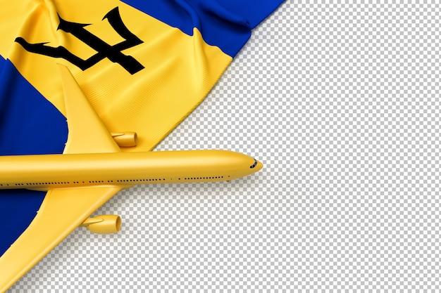 Avião de passageiros e bandeira de barbados Psd Premium
