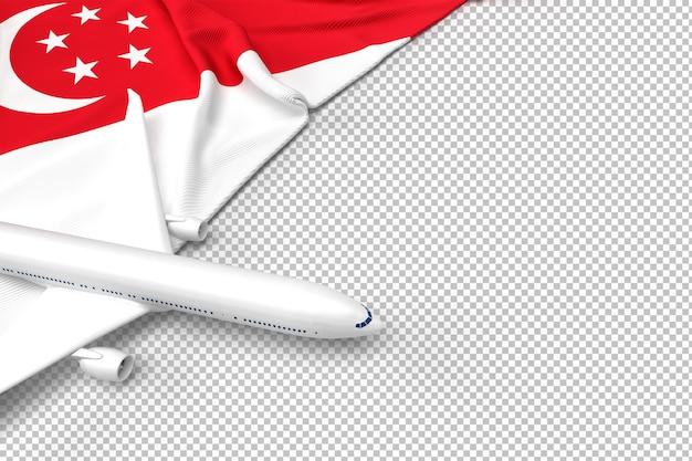 Avião de passageiros e bandeira de singapura Psd Premium