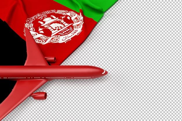 Avião de passageiros e bandeira do afeganistão Psd Premium